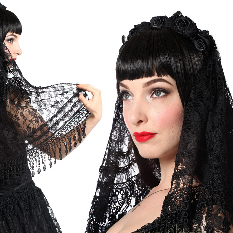 H018 – Black lace gothic veil with brocade trimming and satin ro